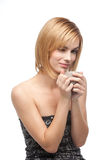Woman holding a coffee cup Royalty Free Stock Photography