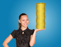 Woman holding coins stack Stock Photos