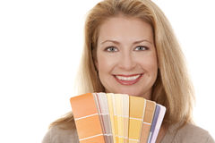 Woman holding color chart Royalty Free Stock Photo