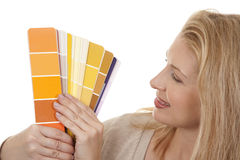Woman holding color chart Royalty Free Stock Image