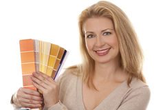 Woman holding color chart Royalty Free Stock Photography