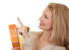 Woman holding color chart Stock Photography