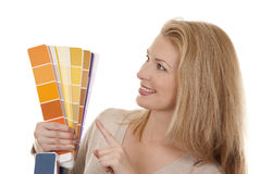 Woman holding color chart Royalty Free Stock Photos