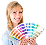 Woman holding a color guide Stock Image