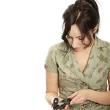 Woman holding compass Royalty Free Stock Images
