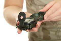 Woman holding compass Stock Photos