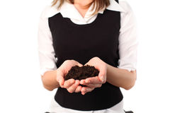 Woman holding composte. For planting Stock Photo