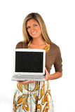 Woman Holding Computer Royalty Free Stock Photography