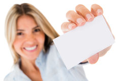 Woman holding a contact card Royalty Free Stock Photo
