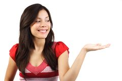 Woman holding copy space Royalty Free Stock Photos