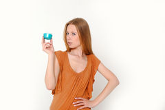 Woman holding  cream Royalty Free Stock Photos