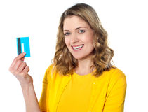 Woman holding credit card Stock Photos