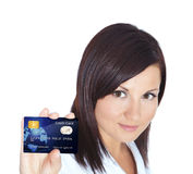 Woman holding credit card isolated over white Stock Photo