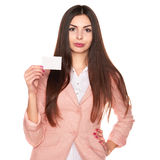 Woman holding credit card isolated on white background Stock Photography