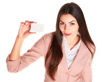 Woman holding credit card isolated on white background Stock Photo