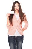 Woman holding credit card isolated on white background Royalty Free Stock Photography