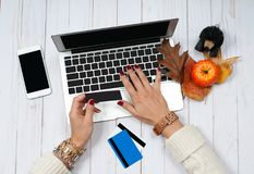 Woman holding credit card and using laptop computer. Online Shopping Concept Royalty Free Stock Photo