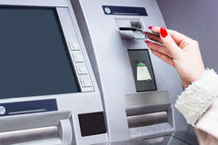 Woman holding credit card Stock Image