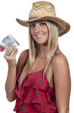 Woman Holding Credit Cards Stock Image