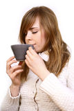 Woman holding a cup Stock Photo