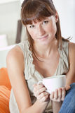 Woman holding cup coffee Royalty Free Stock Image
