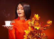 Woman holding  cup of coffee. Royalty Free Stock Photo
