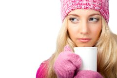 Woman holding cup of drink Royalty Free Stock Photo