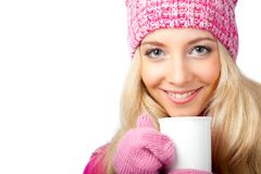 Woman holding cup of drink Stock Photo