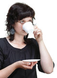Woman holding a cup, isolated Stock Images