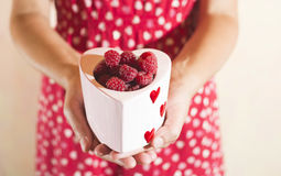 Woman holding a cup of raspberries Stock Photography