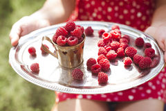 Woman holding a cup of raspberries Royalty Free Stock Photos