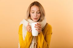 Woman holding cup of tea wearing scarf posing isolated over yellow wall background. Photo of a cute pretty woman holding cup of tea wearing scarf posing isolated stock photography