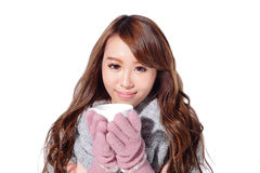 Woman holding cup in winter Stock Photos