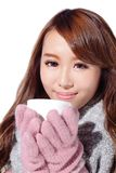Woman holding cup in winter Royalty Free Stock Photography