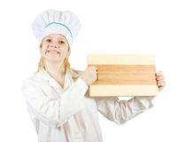 Woman holding cutting board Stock Photos