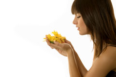 Woman holding a daisy Stock Image
