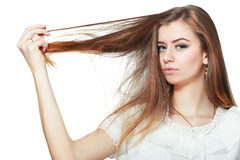 Woman holding damaged hair Royalty Free Stock Photography