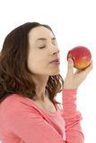 Woman holding delicious red apple Stock Photography