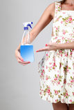 Woman holding a detergent spray Royalty Free Stock Photos