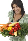Woman holding different fresh vegetables. Isolated on white Stock Photo