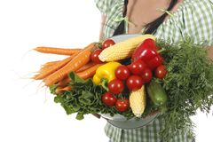 Woman holding different fresh vegetables. Isolated on white Stock Photography