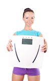 Woman holding  digital scale Royalty Free Stock Photography