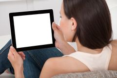 Woman holding digital tablet with blank screen Stock Photography