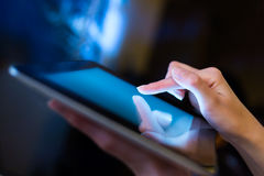 Woman holding digital tablet, closeup royalty free stock photo