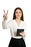 Woman holding digital tablet. Copy space on her digital tablet. Cheerful young caucasian woman holding digital tablet isolated on white Stock Photos