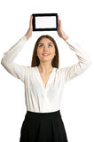 Woman holding digital tablet. Copy space on her digital tablet. Cheerful young caucasian woman holding digital tablet isolated on white Royalty Free Stock Images