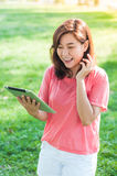 Woman Holding Digital Tablet Royalty Free Stock Photos