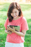 Woman Holding Digital Tablet Royalty Free Stock Photography