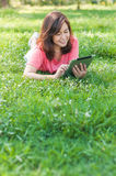 Woman Holding Digital Tablet Royalty Free Stock Images