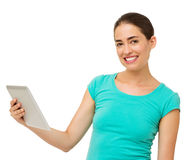 Woman Holding Digital Tablet Over White Background Stock Photos